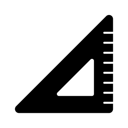 Triangle ruler vector icon. Black and white illustration of school tools . Solid linear education icon. Illustration