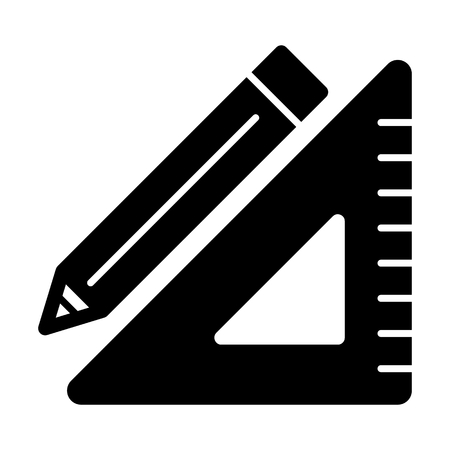 Triangle ruler and a pencil vector icon. Black and white illustration of school tools . Solid linear education icon.