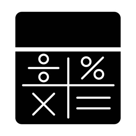 Calculator vector icon. Black and white counting illustration. Solid linear icon.