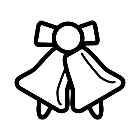 School bell vector icon. Black and white illustration of school bell. Outline linear bell icon. Illustration