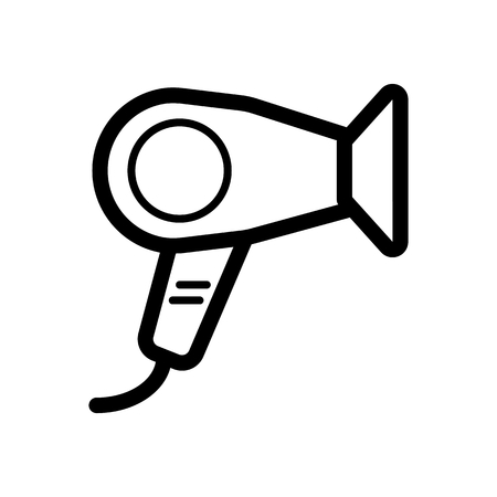 Hair dryer vector icon. Black hotel room hair dryer illustration on white background. Outline linear hair dressing icon.