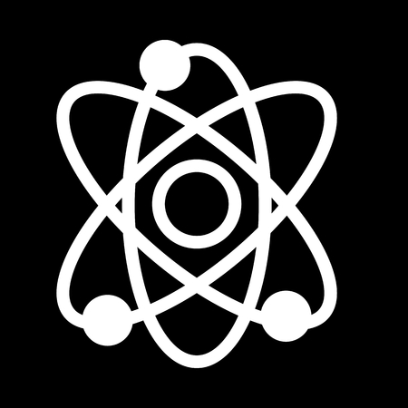 Atom vector icon. Black and white illustration of science.