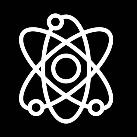 Atom vector icon. Black and white illustration of science