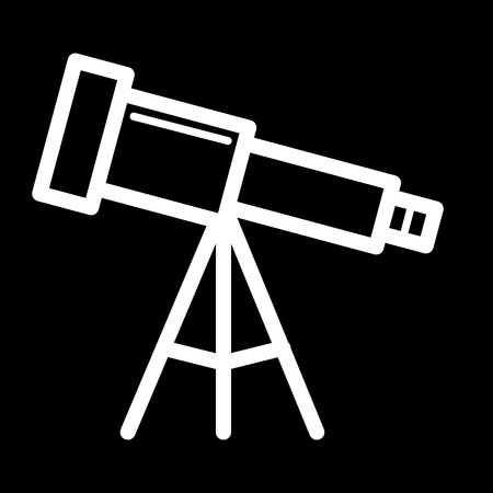 Astronomy telescope vector icon. Black and white illustration of telescope. Outline linear icon.