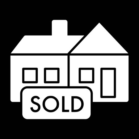 Sold tag simple vector icon. Black and white illustration of sold real estate. Solid linear icon. Illustration