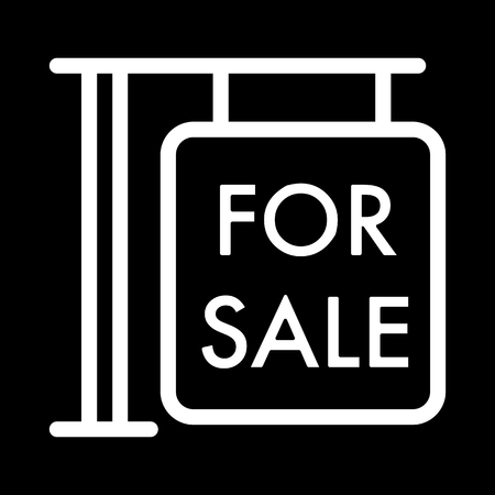 forsale: For sale symbol simple vector icon. Black and white illustration of sale. Outline linear house for sale icon.