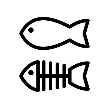 Peces y el esqueleto icono de vector simple. Ilustración en blanco y negro de los huesos de pescado. Icono lineal de contorno. Ilustración de vector