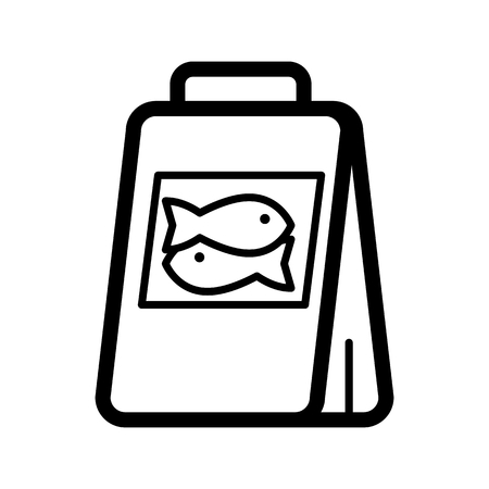 underwater fishes: Fish food package simple vector icon. Black and white illustration of meal for fishes. Outline linear icon. Illustration