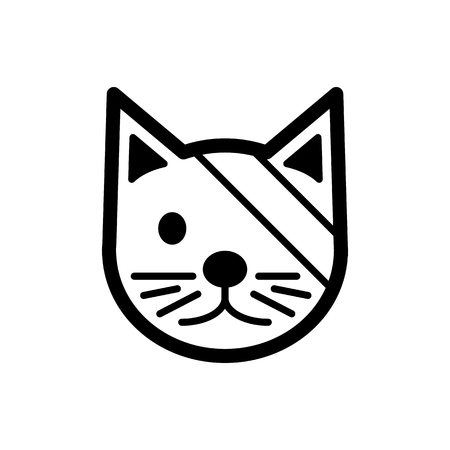 Sick cute cat simple vector icon. Black and white illustration of cat with Bandaged eye. Outline linear veterinary icon. eps 10