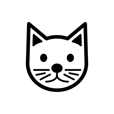 Cat simple vector icon. Black and white illustration of cat. Outline linear cat head icon. eps 10