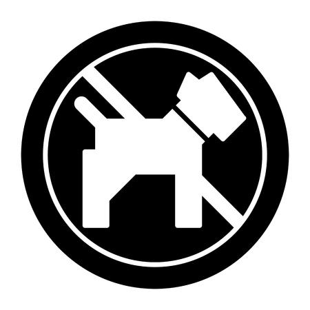 Icône de vecteur simple de chiens. Illustration noir et blanc de chien et signe interdit. Contourner l'icône d'animal de compagnie linéaire. Banque d'images - 79525068