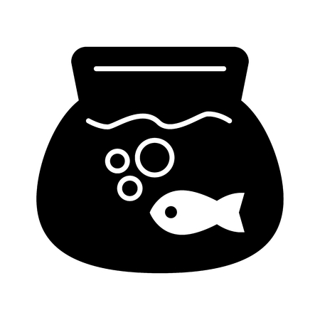 Fish aquarium simple vector icon. Black and white illustration of transparent fishbowl. Solid linear icon. Illustration