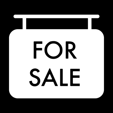 forsale: For sale symbol simple vector icon. Black and white illustration of sale. Solid linear house for sale icon.