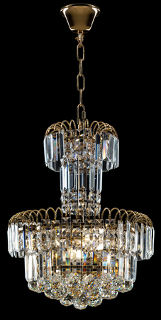 chandelier: Large crystal chandelier in baroque style isolated on black background.