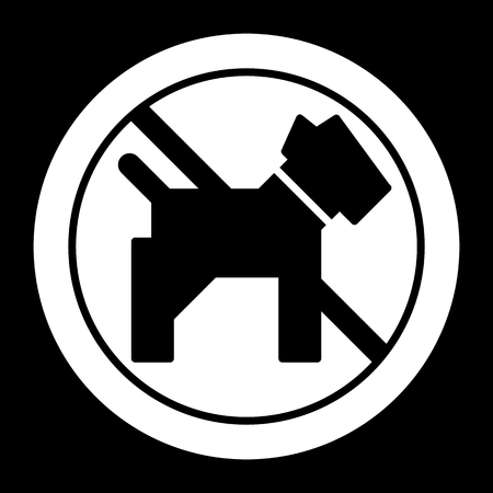 No dogs simple vector icon. Black and white illustration of dog and forbidden sign. Outline linear pet icon.
