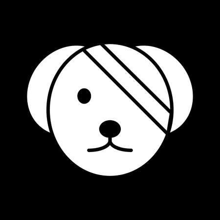 Sick cute dog simple vector icon. Black and white illustration of dog with Bandaged eye. Solid linear veterinary icon. Illustration