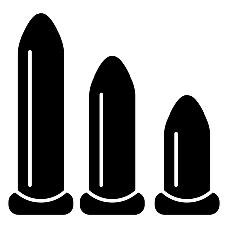 Different sizes of dildos, vibrators. Adult sex toys silhouettes. Vector illustration.