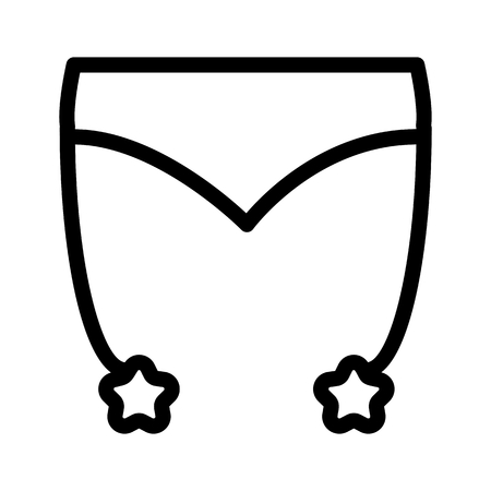 Erotic lingerie simple vector icon. Black and white illustration of belt stockings for sex. Outline linear icon. Stock Photo