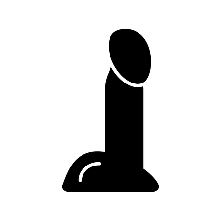 dildo or vibrator. Adult sex toy silhouette. Vector illustration.
