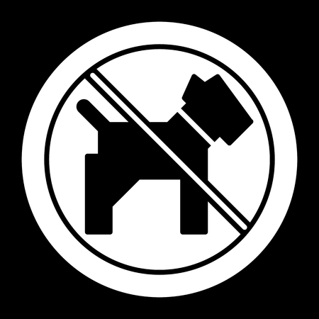 illegal zone: No dogs simple vector icon. Black and white illustration of dog and forbidden sign. Solid linear pet icon.