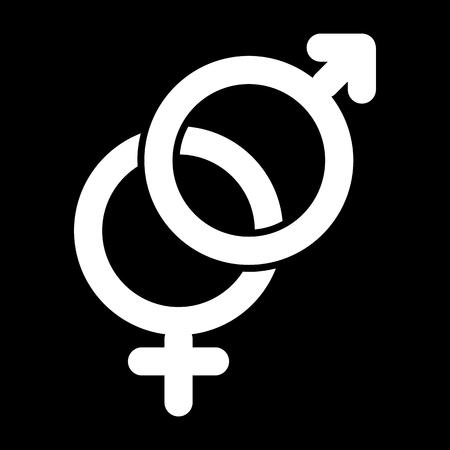 セックス サイン シンプルなベクター アイコン。ジェンダー記号の黒と白のイラスト。固体の線形アイコン。