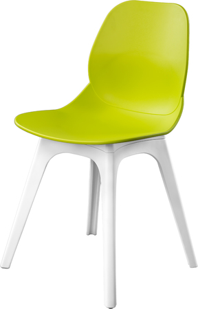 Green color plastic chair, modern designer. Chair isolated on white background. furniture and interior