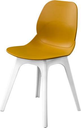 greengrass: mustard color plastic chair, modern designer. Chair isolated on white background. furniture and interior Stock Photo