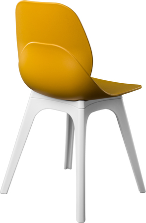 Mustard Color Plastic Chair, Modern Designer. Chair Isolated On White  Background. Furniture And