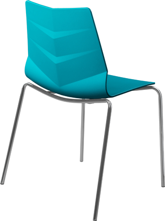 greengrass: turquoise color plastic chair with chrome legs, modern designer. Chair isolated on white background. Stock Photo