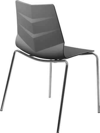greengrass: Gray color plastic chair with chrome legs, modern designer. Chair isolated on white background. furniture and interior Stock Photo