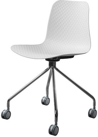 greengrass: white color plastic chair with chrome legs, modern designer. Swivel chair isolated on white background.