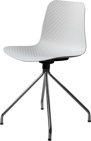 greengrass: white color plastic chair with chrome legs, modern designer. Swivel chair isolated on white background. furniture and interior.