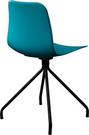 turquoise color plastic chair, modern designer. Swivel chair isolated on white background. furniture and interior Stock Photo