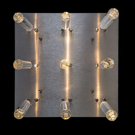 chandelier background: Glass hanging lamp of transparent lamps isolated on black