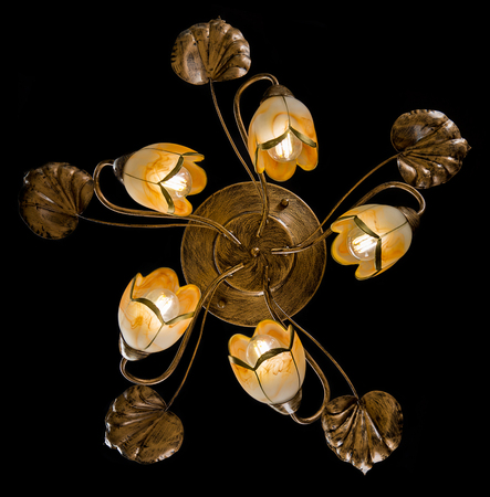chandelier background: Delicate chandelier of flower lamps isolated on black Stock Photo