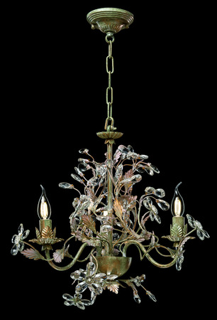 radiance: Classic chandelier in flower style isolated on black background.