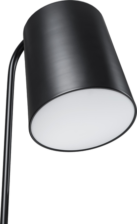 A Close Up Partial View of a Black Floor Lamp. Black part of lamp isolated on white.