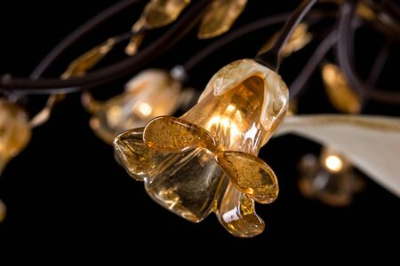 Classic chandelier in flower style isolated on black background. Close-up