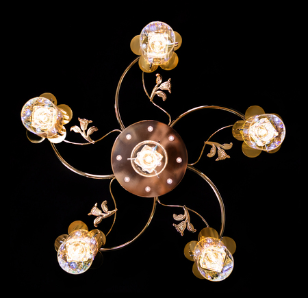 chandelier background: Classic chandelier isolated on black background.