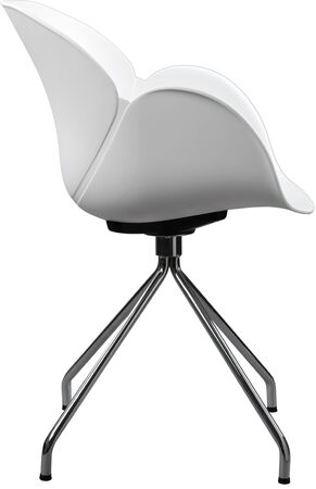 greengrass: white color plastic chair with chrome legs, modern designer. Chair isolated on white background.