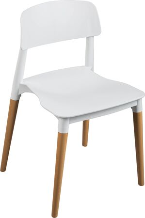 greengrass: White color plastic chair, modern designer. Chair on wooden legs isolated on white background. furniture and interior