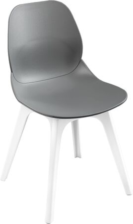 greengrass: Gray color plastic chair, modern designer. Chair isolated on white background. furniture and interior