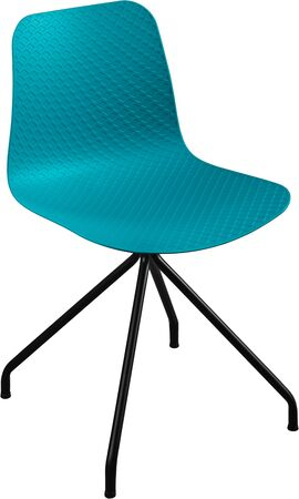 greengrass: turquoise color plastic chair, modern designer. Swivel chair isolated on white background. furniture and interior Stock Photo