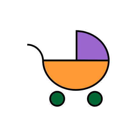 Pram icon. Flat Web line icon on white background. Baby carriage, eps 10