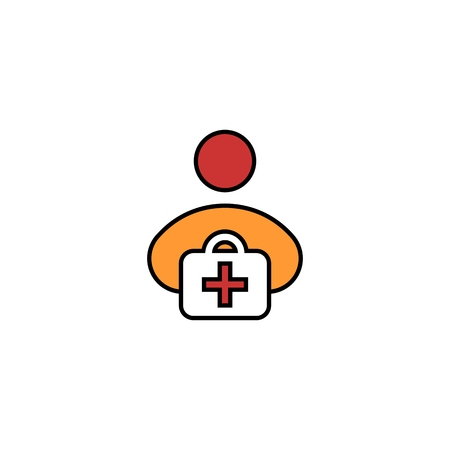 first aid kit flat icon. Vector on white background