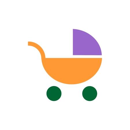 Pram icon. Flat Web line icon on white background. Baby carriage, eps 10