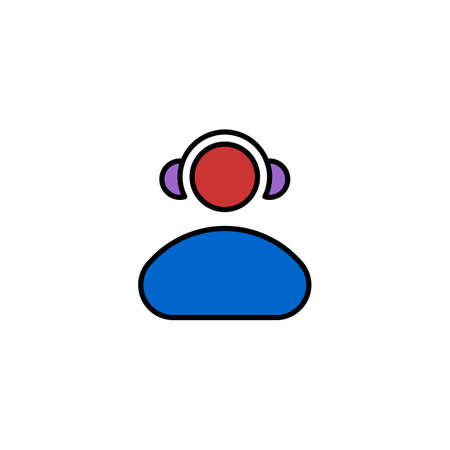 mp3: Human head with headphones. Flat Vector icon. Illustration