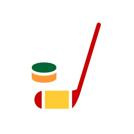 hockey stick and puck icon. Simple filled hockey stick and puck vector icon. On white background. Flat design. Eps 10