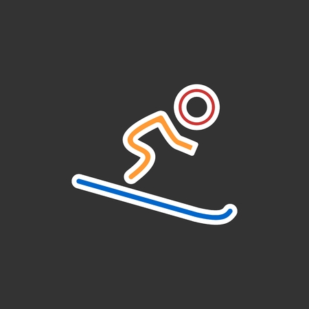 Silhouette of single mountain skier isolated on a black background. Vector flat illustration. Eps 10 Illustration