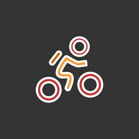 recreational pursuit: Cyclist icon. Simple flat logo of cyclist on black background. Silhouette of a cyclist. Vector illustration. Eps 10 Illustration